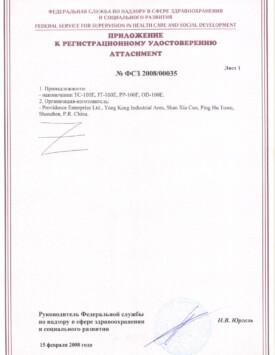 Приложение к сертификату WP100